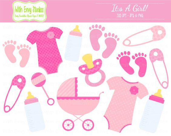 Shower clip art sale. Baby girl pink clipart