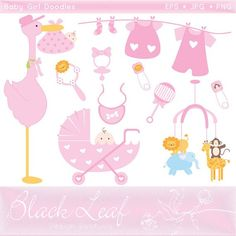 Clothes cute digital commercial. Baby girl pink clipart