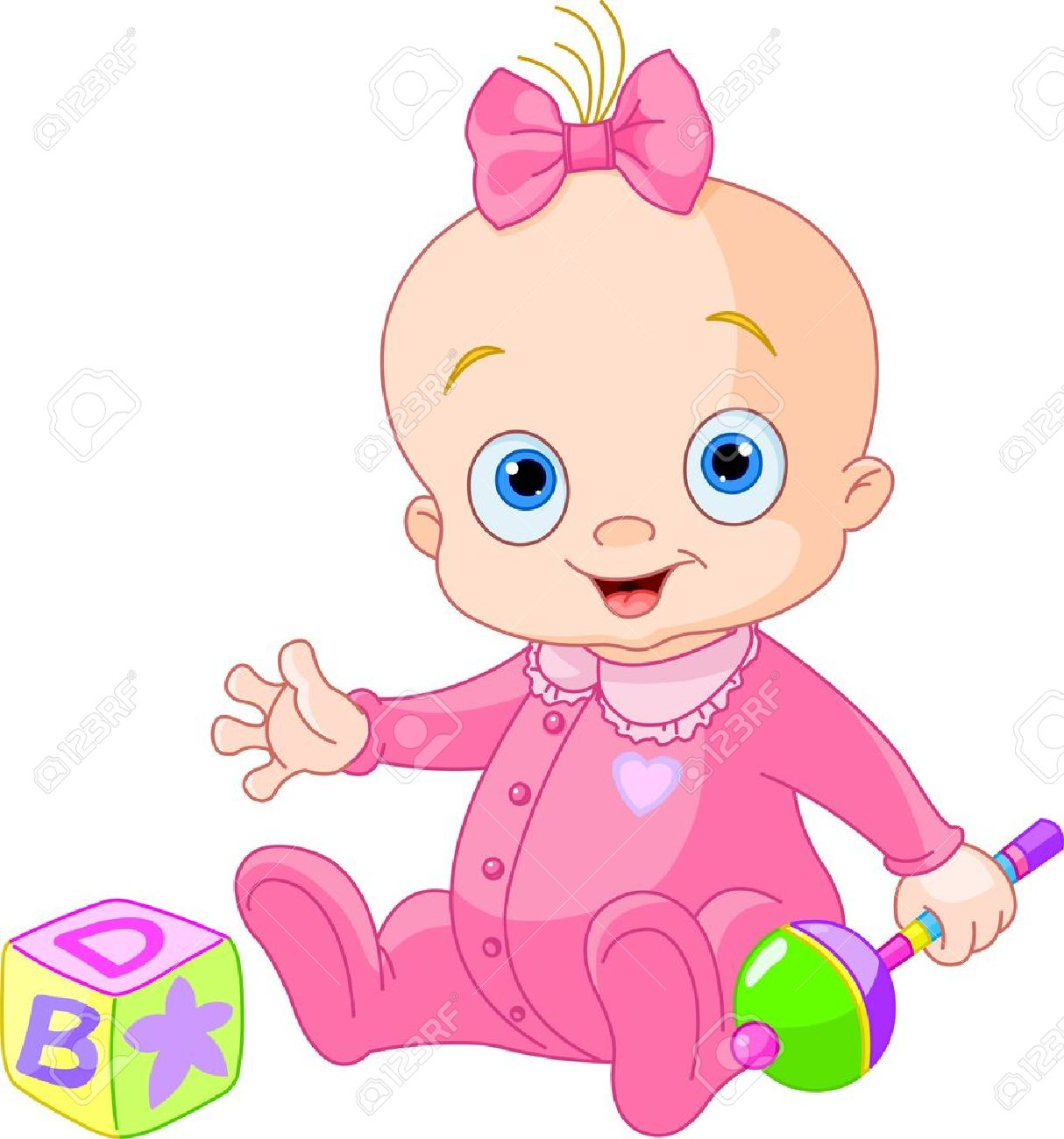 Baby girl pink clipart. Playing with rattle royalty