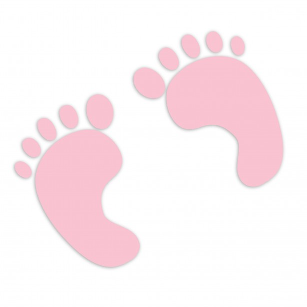 Kid footprints free stock. Baby girl pink clipart