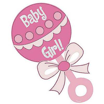 Rattle with an e. Baby girl pink clipart