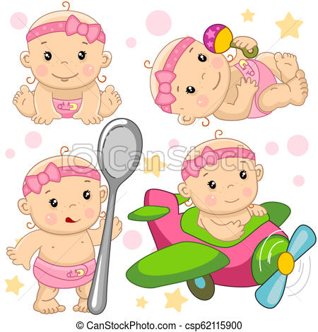 Baby girl sit clipart