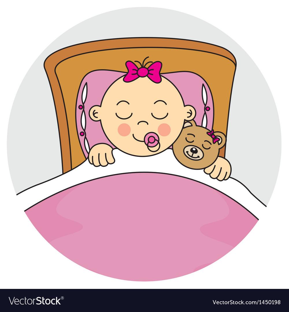 Baby girl sleeping clipart free vector Baby girl sleeping vector