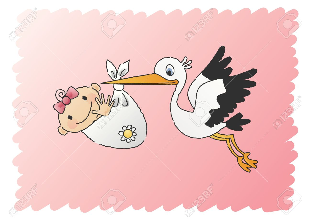 Delivering royalty free cliparts. Baby girl stork clipart