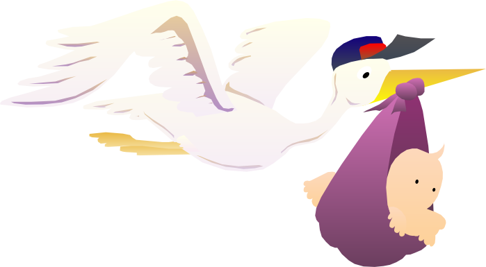 Stork & Baby Clipart - Free Graphics of Storks Delivering Babies clip art library stock