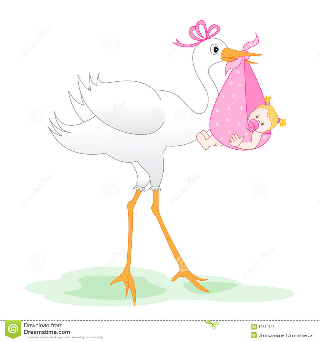 Baby girl stork clipart. Clipartfest carrying
