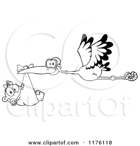 Cartoon of a Stork Flying a Baby Girl in a Pink Bundle - Royalty ... picture royalty free download