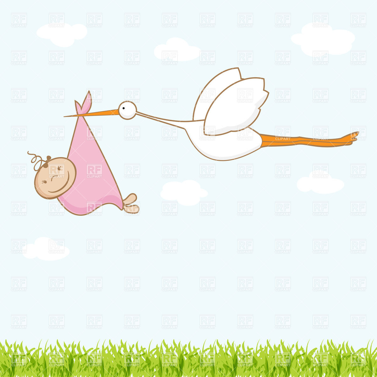Free clipart baby girl stork - ClipartFest image free