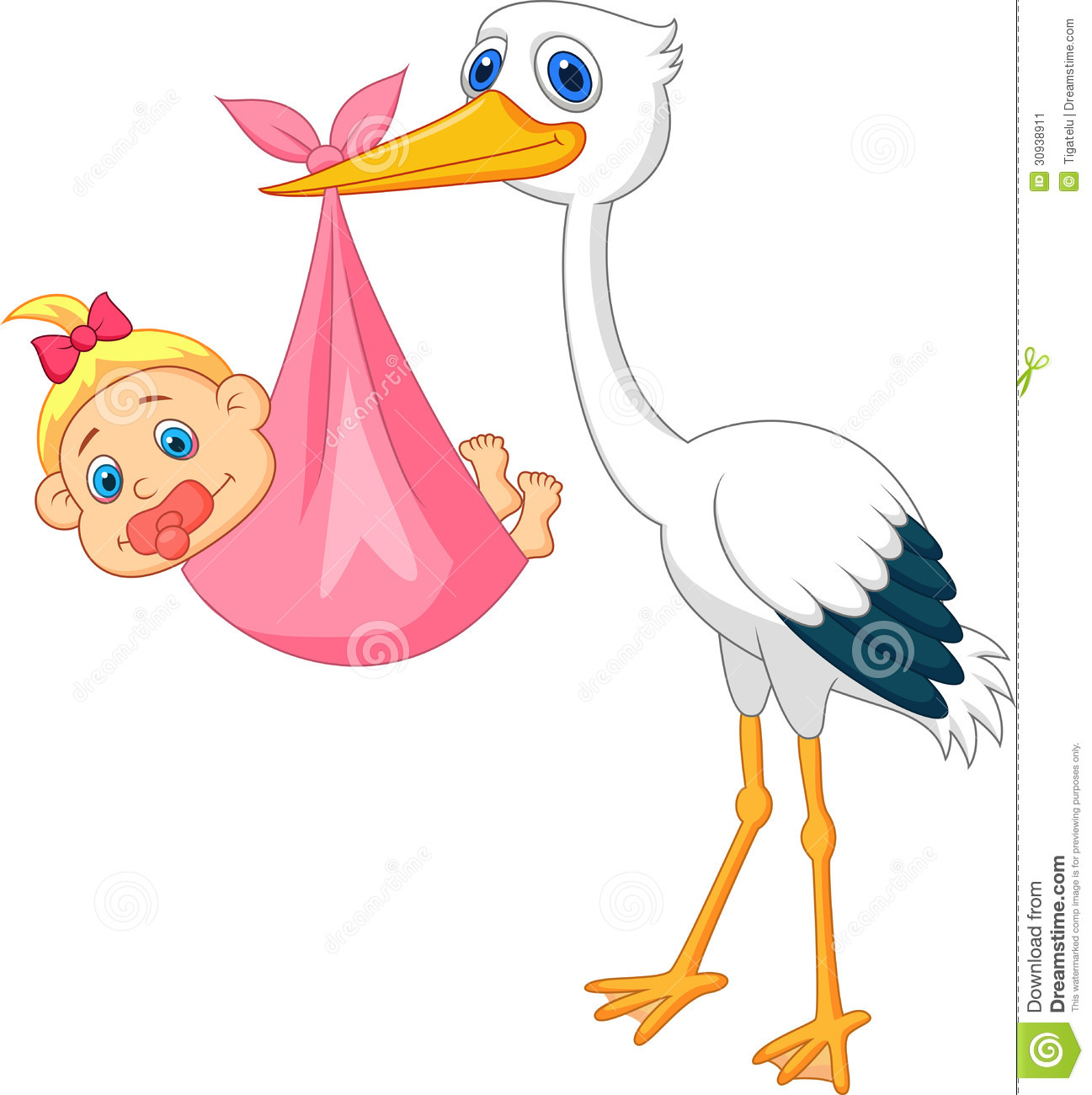 Baby girl stork clipart vector transparent Stork Carrying Baby Stock Photos, Images, & Pictures - 313 Images vector transparent
