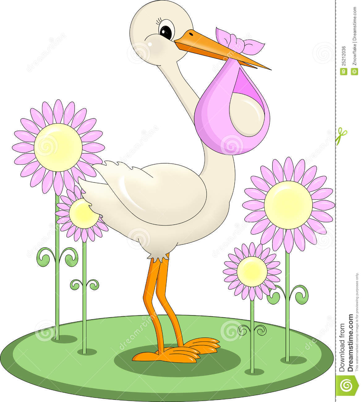 Baby girl stork clipart. Delivering royalty free stock