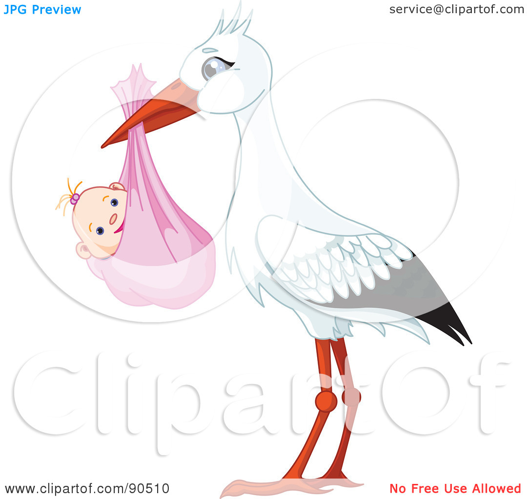 Baby girl stork clipart clip transparent Royalty-Free (RF) Clipart Illustration of a White And Black Stork ... clip transparent