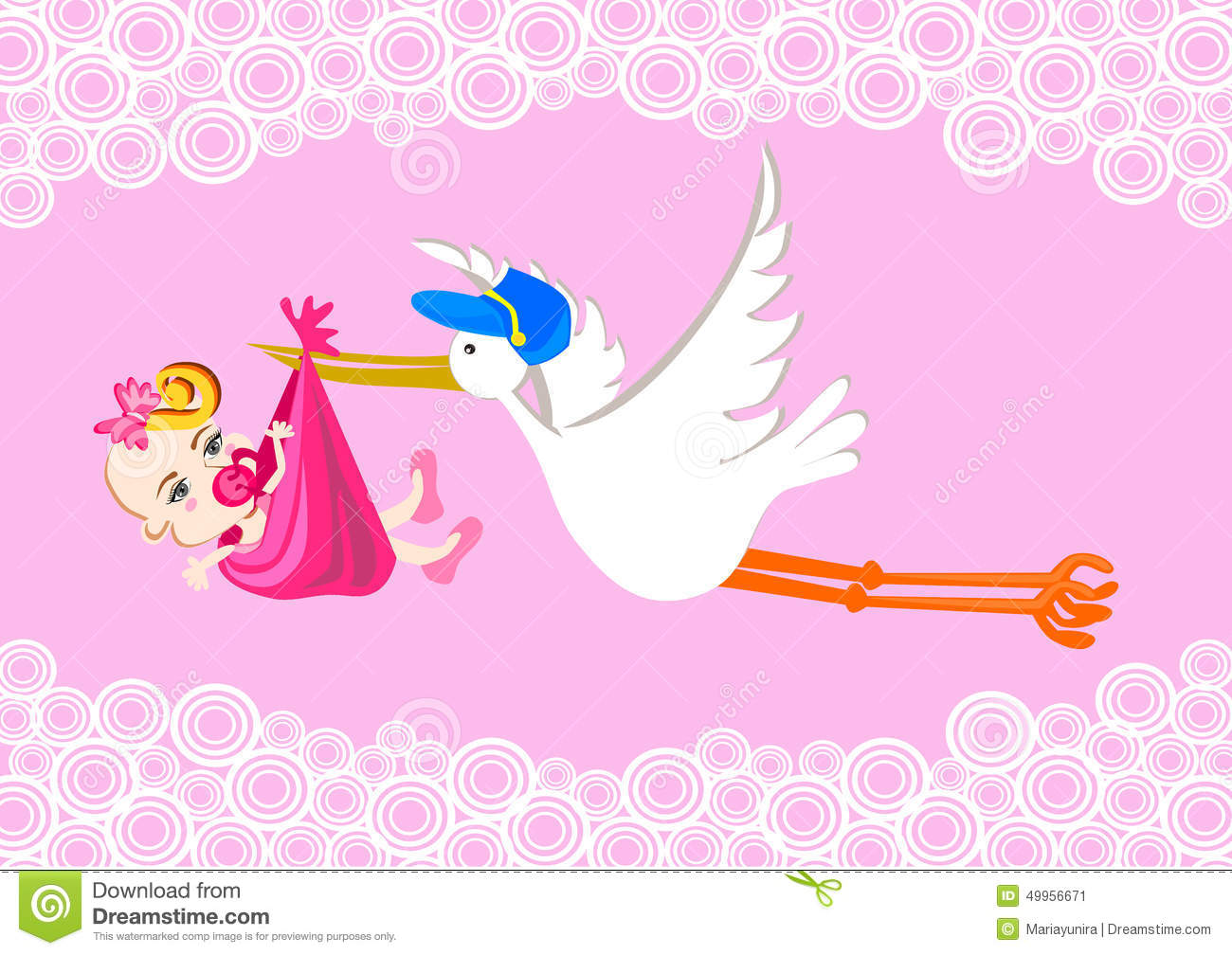 Carrying stock photos images. Baby girl stork clipart