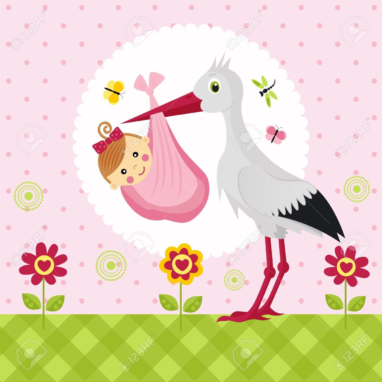 Stork With A Baby Girl In A Bag Royalty Free Cliparts, Vectors ... clipart transparent library