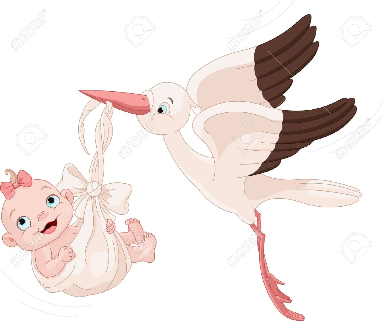 Baby girl stork clipart clipart free stock Cute Stork Carrying A Baby Girl Royalty Free Cliparts, Vectors ... clipart free stock