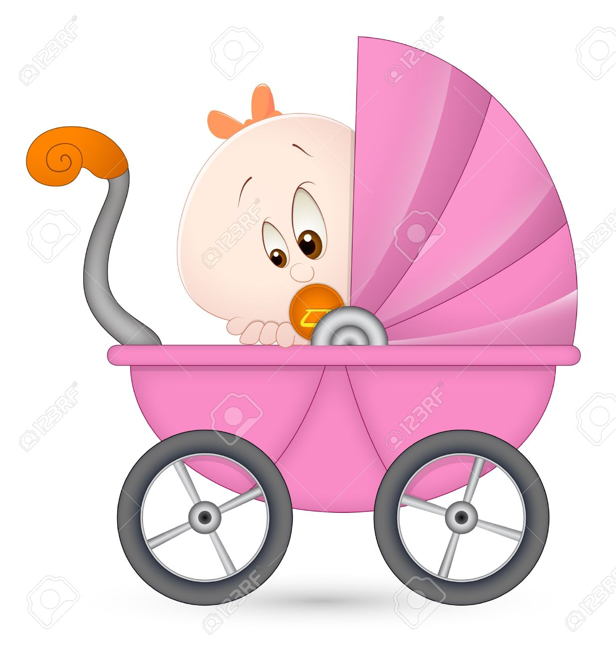 Baby girl stroler clipart clip royalty free Baby Girl In Baby Carriage Royalty Free Cliparts, Vectors, And ... clip royalty free