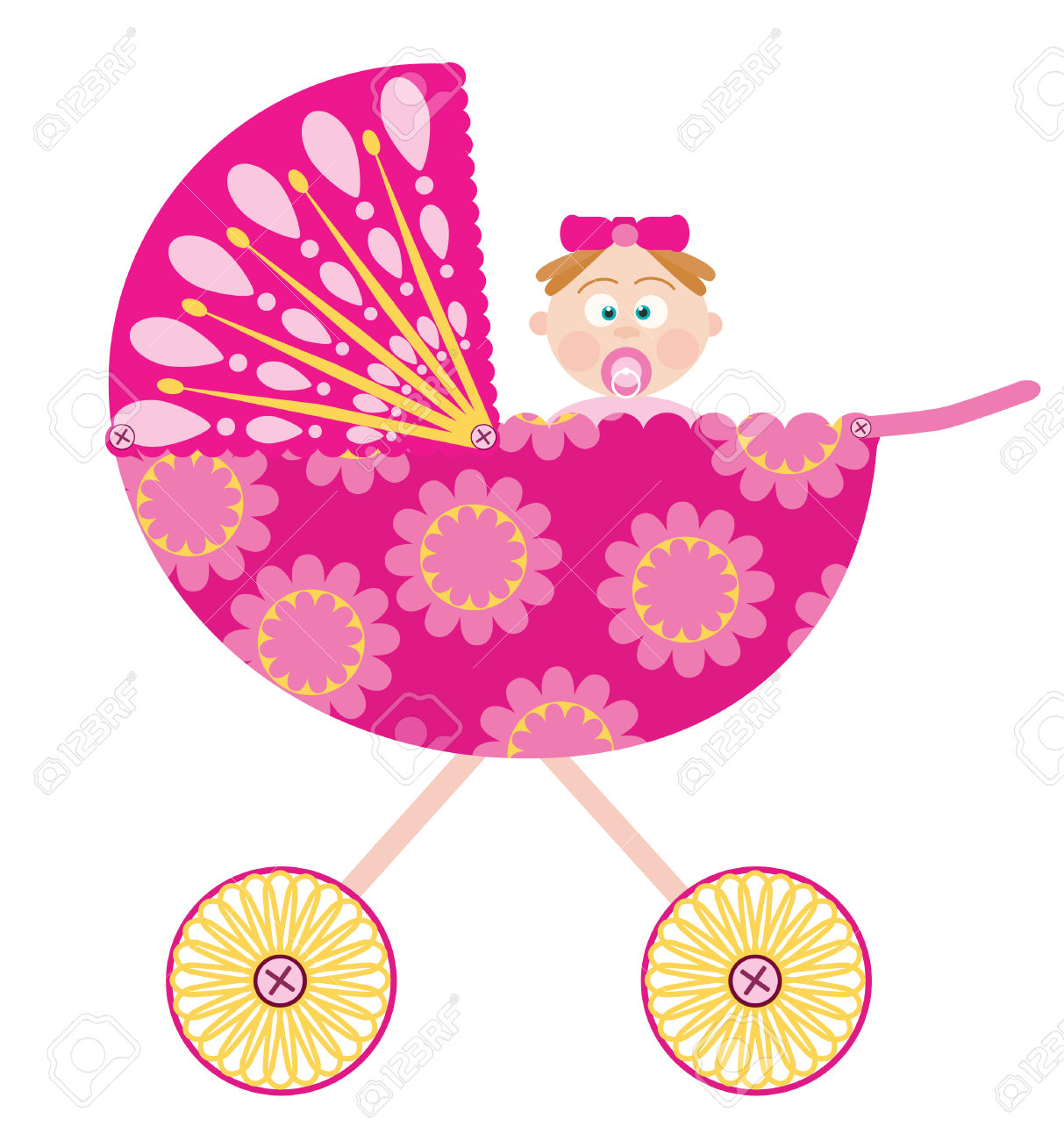 Baby girl stroler clipart clipart transparent library Baby Stroller With A Girl Royalty Free Cliparts, Vectors, And ... clipart transparent library