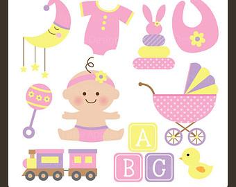 Baby girl stroler clipart banner library download Bib clipart | Etsy banner library download