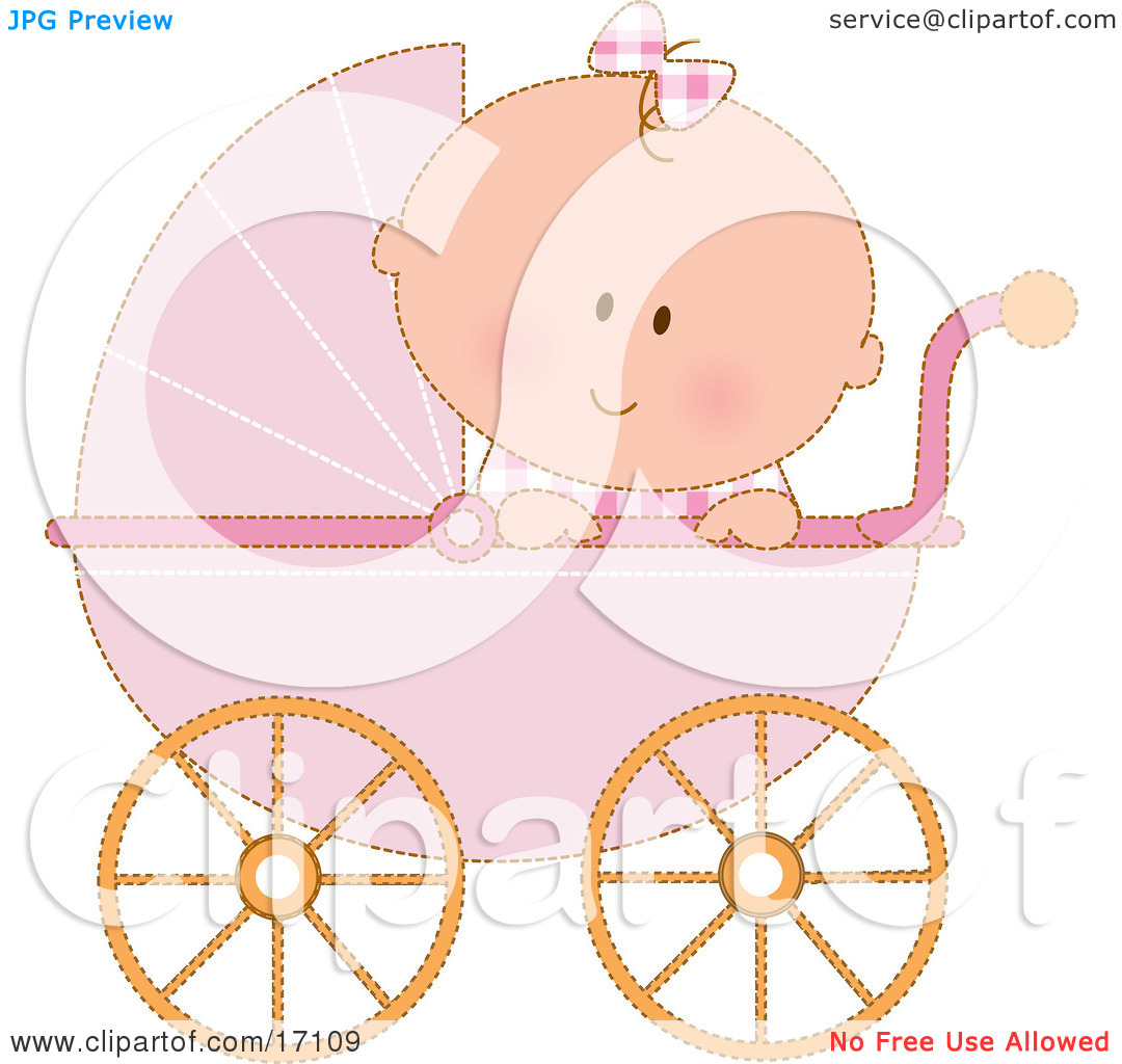 Baby girl stroler clipart clipart black and white stock Caucasian Baby Girl In A Pink Stroller Carriage, Looking Over The ... clipart black and white stock