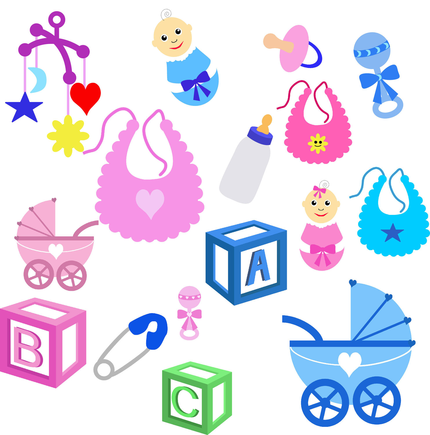 Baby girl supplies clipart black and white stock Baby Stuff Clipart & Baby Stuff Clip Art Images - ClipartALL.com black and white stock