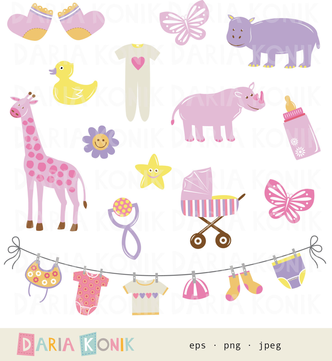Baby girl supplies clipart banner transparent stock Baby girl items clipart - ClipartFox banner transparent stock