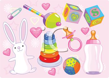 Baby girl supplies clipart download Girl Baby Items Including a Rattle and Blocks - Royalty Free ... download