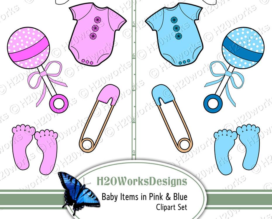 Baby girl supplies clipart banner Baby Items Clipart Set Pink Blue Baby Girl Boy Clip Art banner