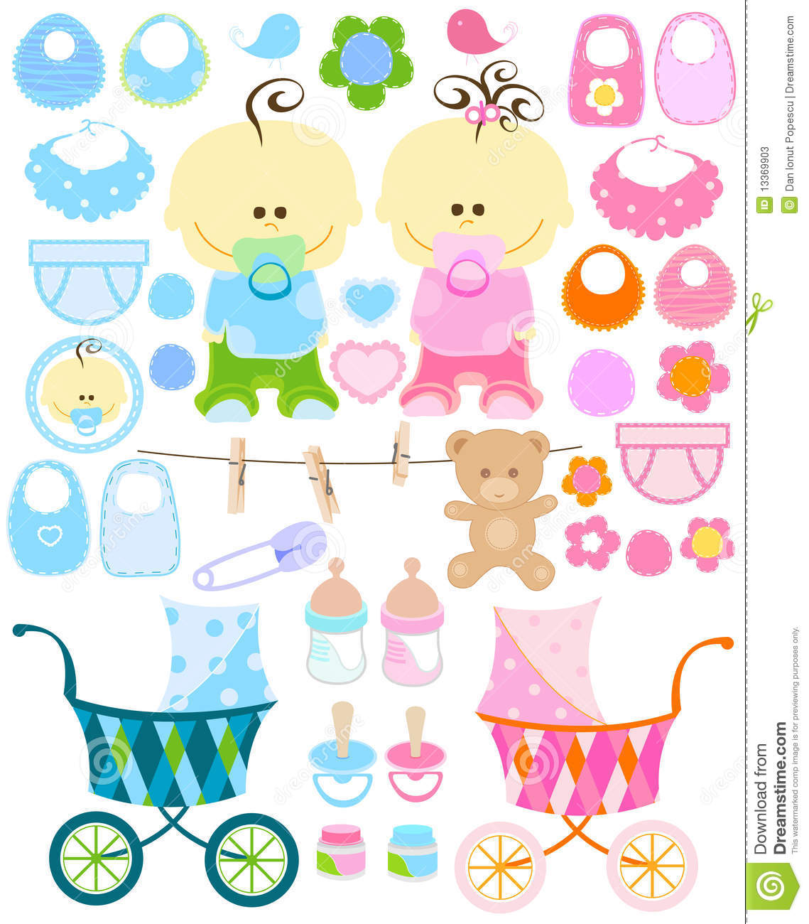 Baby girl supplies clipart svg free download Baby Stuff Stock Photos - Image: 13369903 svg free download