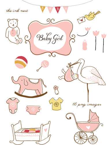 Baby girl supplies clipart clip freeuse stock Clipart baby girl items - ClipartFest clip freeuse stock