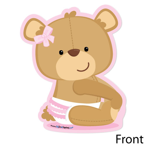 Baby girl teddy bear clipart image library Baby Girl Teddy Bear Shaped Baby Shower Invitations - Free Clipart image library