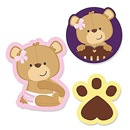 Baby girl teddy bear clipart jpg free Amazon.com: Big Dot of Happiness Baby Girl Teddy Bear - DIY Shaped ... jpg free