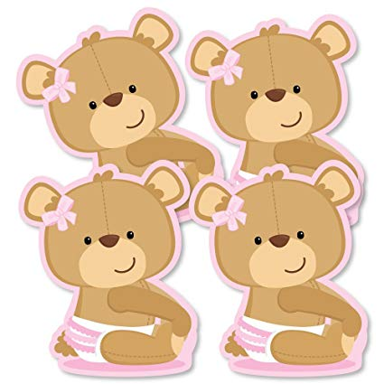 Baby girl teddy bear clipart svg black and white download Amazon.com: Baby Girl Teddy Bear - Decorations DIY Baby Shower Party ... svg black and white download
