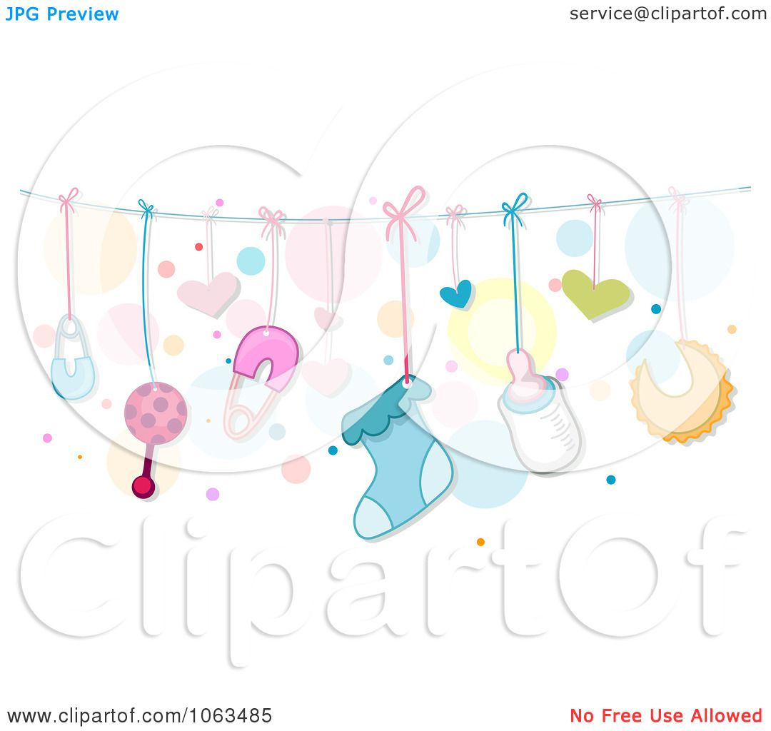 Baby girl things clipart vector transparent Clipart Border Of Baby Things And Dots - Royalty Free Vector ... vector transparent