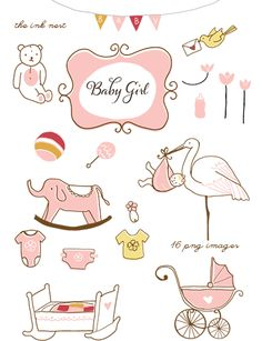 Baby girl things clipart picture stock Baby Boy & Baby Girl Design Set - Clip Art for Personal and ... picture stock