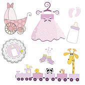 Baby girl things clipart graphic library library Clip Art of Baby items k4310318 - Search Clipart, Illustration ... graphic library library