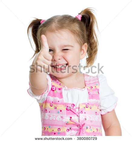 Baby girl thumbs up clipart. Happy child hands stock