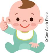 Baby girl thumbs up clipart. Vectors of illustration featuring