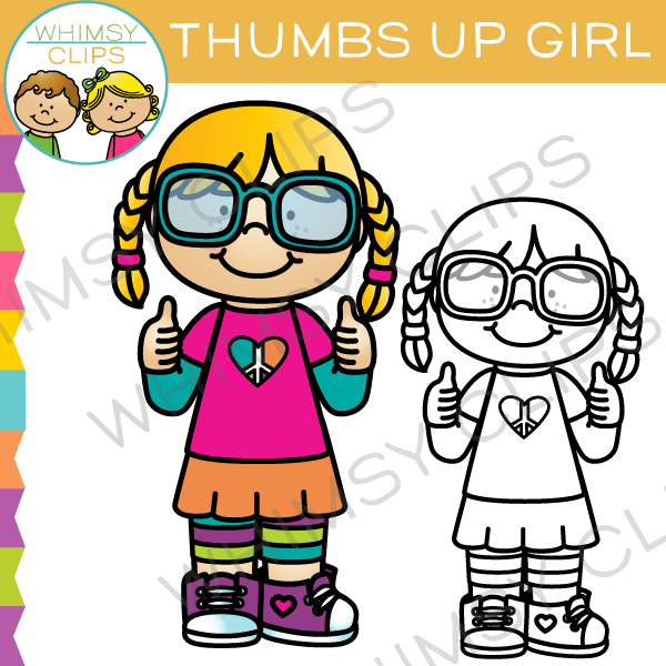Clip art images illustrations. Baby girl thumbs up clipart