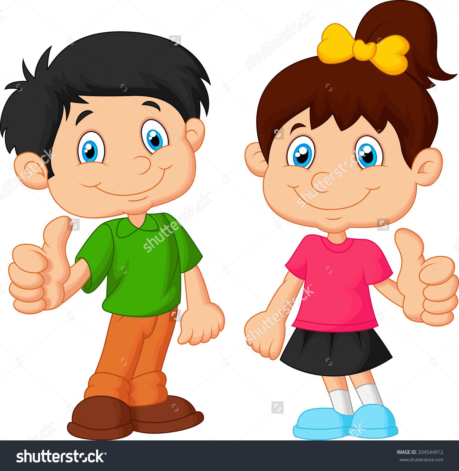 Baby girl thumbs up clipart clip transparent stock Cartoon Boy Girl Giving Thumb Stock Vector 204544912 - Shutterstock clip transparent stock