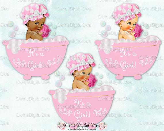 Baby girl tub clipart jpg free download Baby Girl Pink Bubble Bath Bathtub Tub Shower Cap   Vintage Baby 3 ... jpg free download