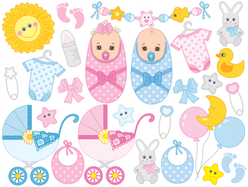 Boy and girl twins clipart image free stock Baby Clipart - Digital Vector Newborn, Baby Boy, Baby Girl, Twins, Baby  Clip Art image free stock