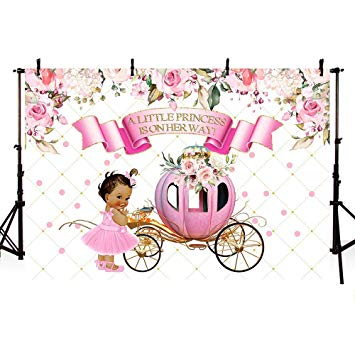 Baby girl vintage carriage clipart vector black and white stock MEHOFOTO Little Princess Baby Shower Pink Floral Photo Studio Booth  Background Girl Vintage Carriage Royal Celebration Backdrops Banner for ... vector black and white stock