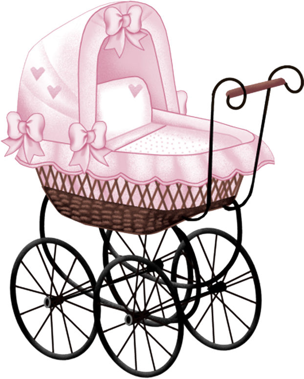Baby girl vintage carriage clipart jpg black and white library PINK BABY CARRIAGE CLIP ART | BABY CLIPARTS | Baby girl clipart ... jpg black and white library