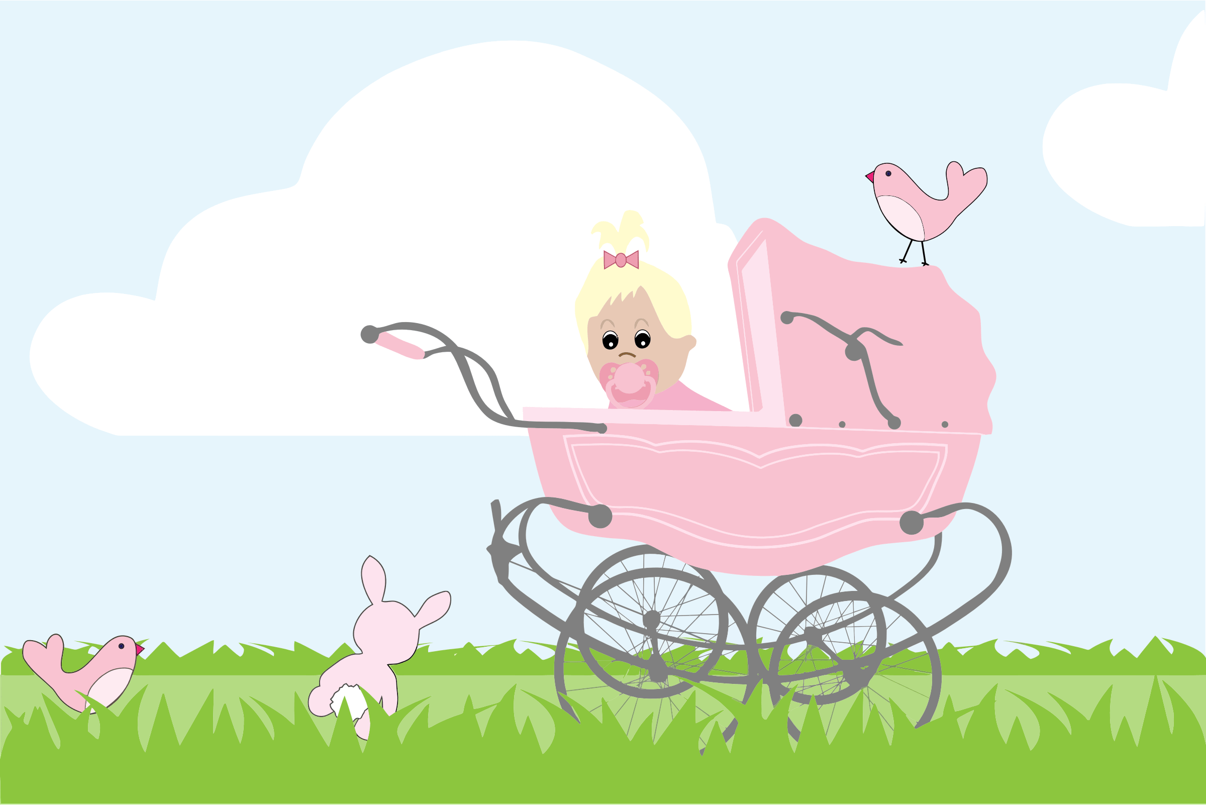 Baby girl vintage carriage clipart picture library library Clipart Baby Girl Vintage Stroller Pram - Empoto picture library library
