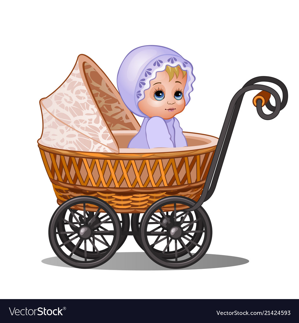 Baby girl vintage carriage clipart clip art transparent Little girl sitting in a vintage stroller isolated clip art transparent