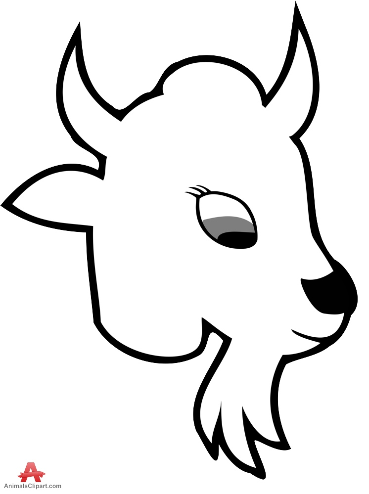 Baby goat face clipart picture black and white stock Goat Head Clipart   Free download best Goat Head Clipart on ... picture black and white stock