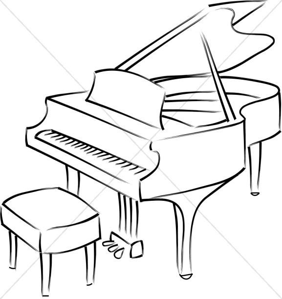 Piano black and white clipart clipart free library Baby Grand Piano Line Art | Church Music Clipart clipart free library