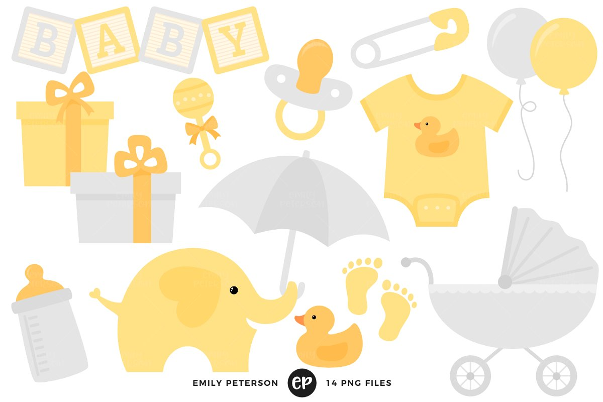 Baby graphics clipart image transparent library Gender Neutral Baby Shower Clipart image transparent library