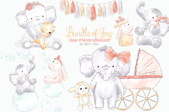 Baby graphics clipart clipart freeuse Elephant Baby Girl Watercolor Clipart clipart freeuse