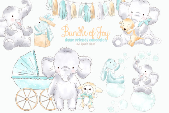 Baby graphics clipart clipart royalty free download Elephant Baby Boy Watercolor Clipart clipart royalty free download