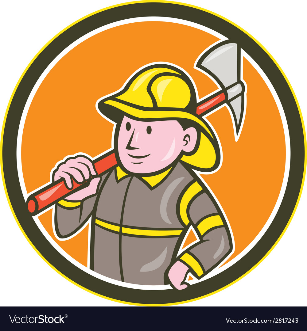 Baby holding axe clipart image library Fireman Firefighter Axe Circle Cartoon image library